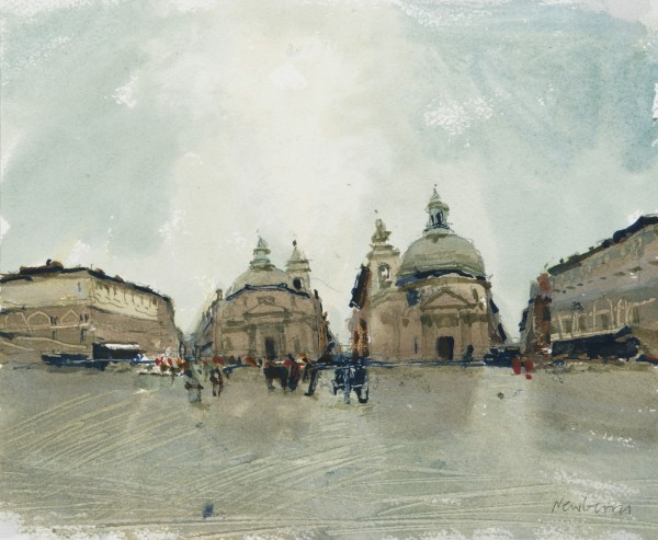 John Newberry Rain, Piazze del Popolo, Rome watercolour 37x43cm