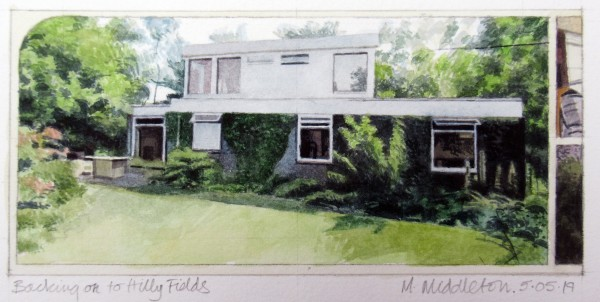 Mike Middleton Backing on to Hilly Fields watercolour Frame: 30 x 40 cm Artwork: 9 x 20 cm