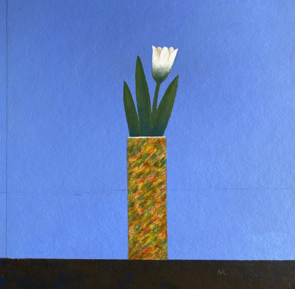 Martin Leman White Flower acrylic Artwork: 25 x 25cm