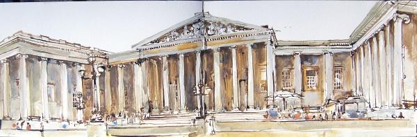 Stuart Robertson British Museum Study watercolour, pen & ink Artwork: 13 x 41 cm Frame: 30 x 58 cm