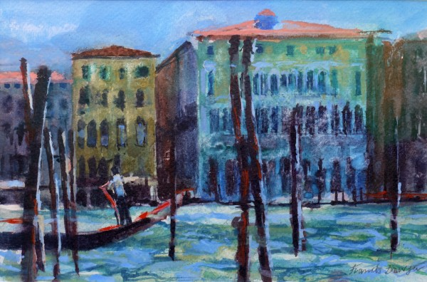 Francis Bowyer Gondola, Grand Canal, Venice watercolour Frame: 37 x 44 cm Artwork: 16 x 25 cm