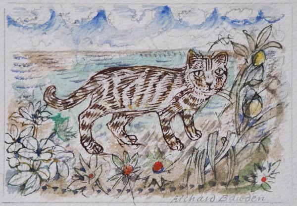 Richard Bawden Big Cat watercolour Artwork: 14 x 10cm