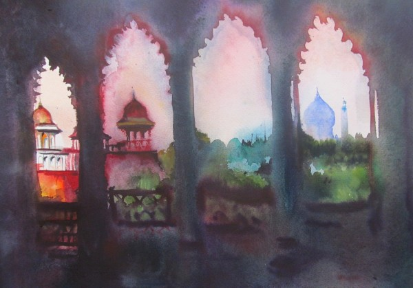 Neil Pittaway Agra Fort watercolour Artwork: 45 x 34cm