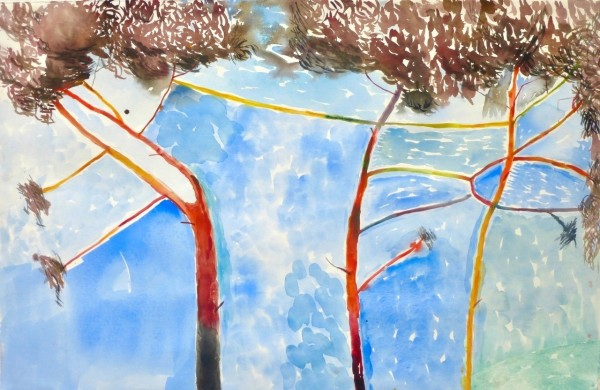 Anne Lynch Trees Dancing Against the Sky watercolour Frame: 67 x 110 cm