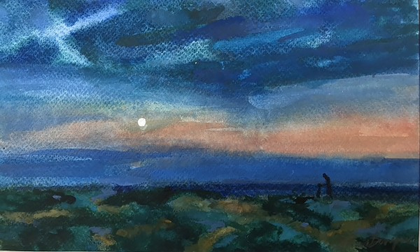 Francis Bowyer Late Evening Walk watercolour & bodycolour Frame: 37 x 45 cm Artwork: 15 x 25 cm