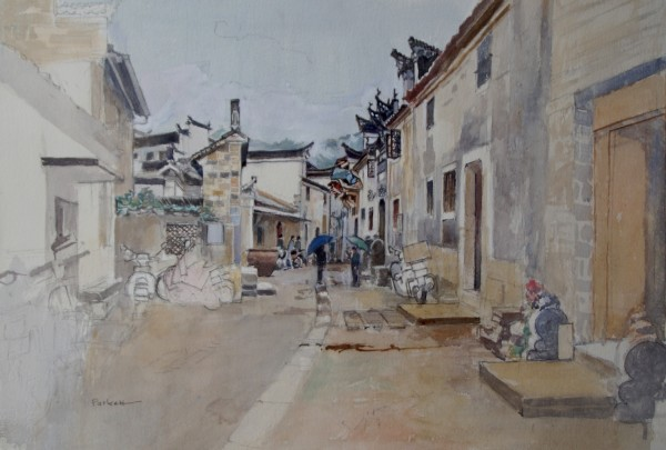 David Paskett Anhui Rain watercolour