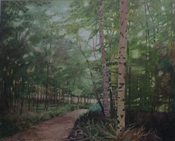 Annie Williams Horsley Woods watercolour Frame: 55 x 64 cm Artwork: 40 x 50 cm