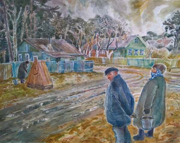 June Berry A Village Near Moscow watercolour