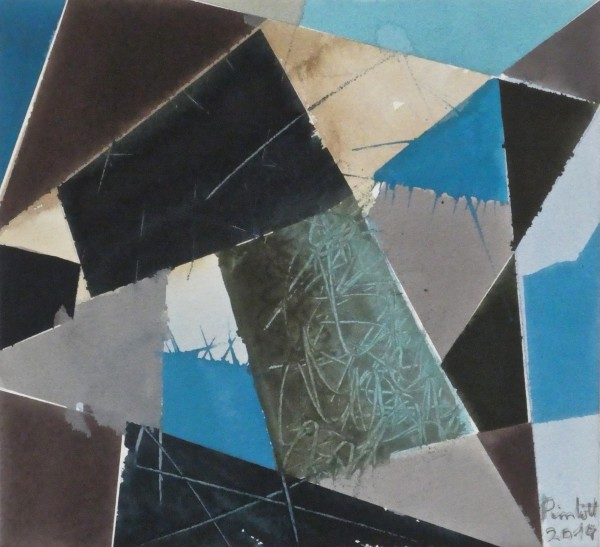 Geoffrey Pimlott Sienna's Grey-Scratched Blue watercolour & gouache Frame: 40.5 x 40.5 cm Artwork: 24 x 26 cm