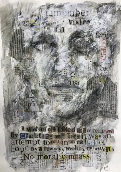 Colin Merrin A 2020 Vision graphite, acrylic, watercolour & collage Frame: 43 x 32 cm Artwork: 28 x 21 cm