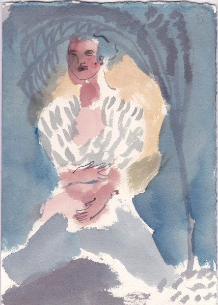 Jessica Jane Charleston Belly Under the Tree watercolour Artwork: 29 x 20.5cm