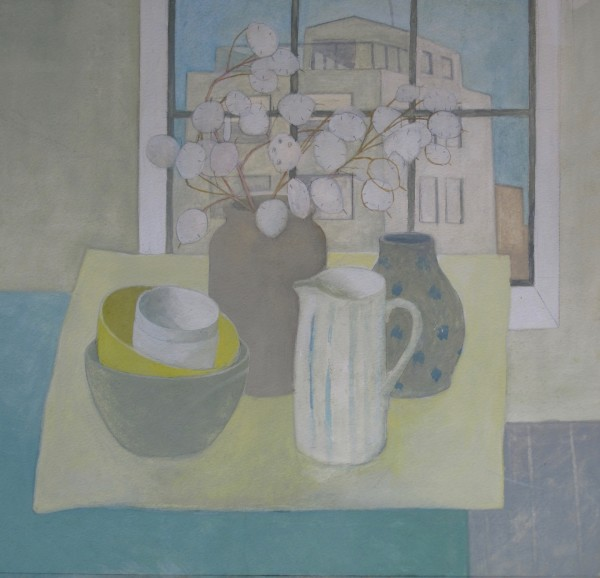 Wendy Jacob Still Life on a Blue Table gouache 53x53cm