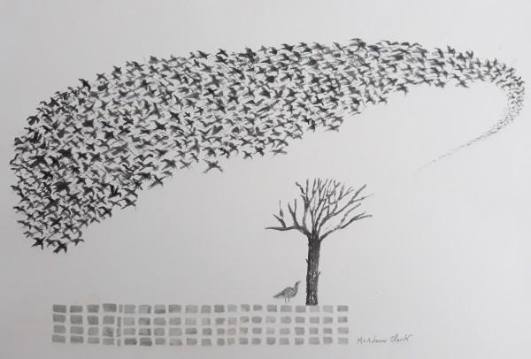 Caroline McAdam Clark Twitter watercolour Frame: 32 x 42 cm Artwork: 28 x 38 cm