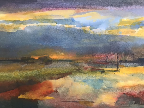 Francis Bowyer Twilight on the Blyth River watercolour & bodycolour Frame: 36 x 40 cm Artwork: 15 x 21 cm