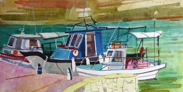 Jenny Wheatley Fishing Boats Agios Georgios watercolour 48x69cm