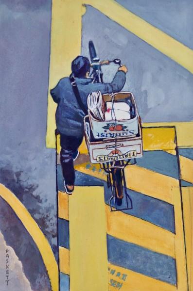 David Paskett Hong Kong Delivery watercolour Artwork: 19 x 29cm