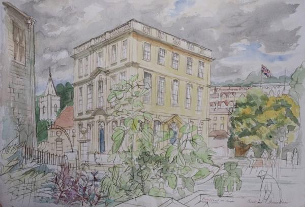 Richard Bawden Bradford on Avon watercolour 58x73cm