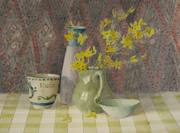 Annie Williams Winter Jasmine watercolour Frame: 38 x 41 cm Artwork: 19 x 24 cm