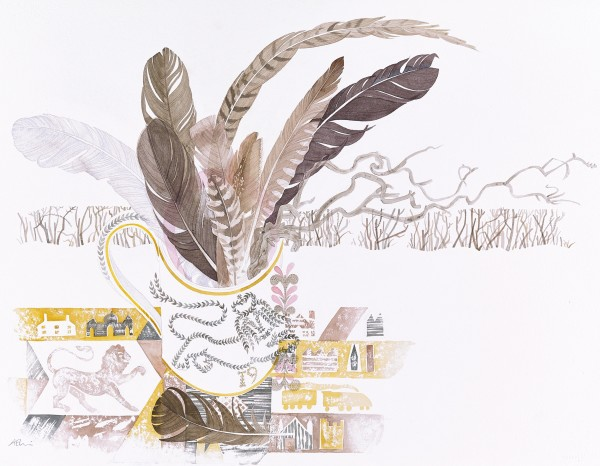 Angie Lewin Lions and Feathers, Glenarder watercolour