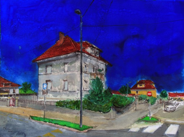 Peter Quinn Villa, Ljubljana, Slovenia watercolour 45x57cm