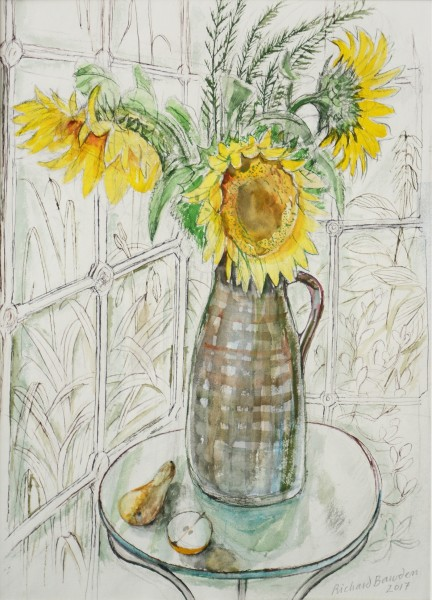 Richard Bawden Conservatory Sunflowers watercolour 68 x 52cm