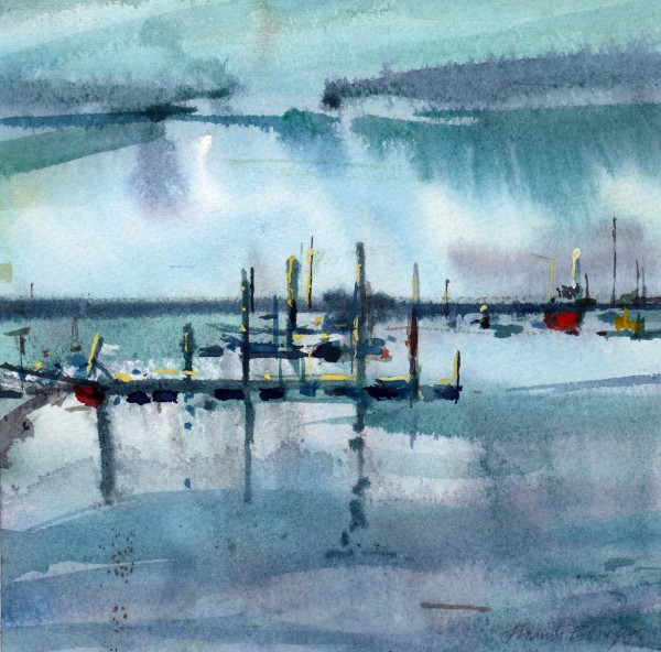 Francis Bowyer Towards the Ferry, Walberswick watercolour Frame: 42 x 40 cm Artwork: 21 x 21 cm