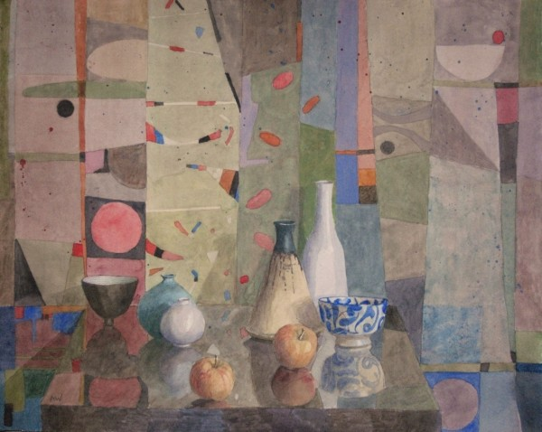 Annie Williams Still Life with Two Apples watercolour 58x67cm