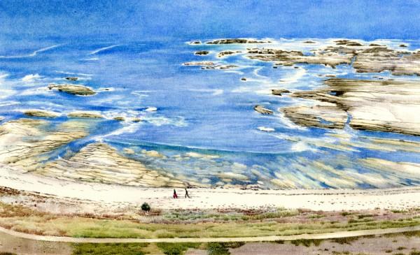 Liz Butler Kaikouro Bay watercolour Frame: 32 x 42 cm Artwork: 16.2 x 26 cm