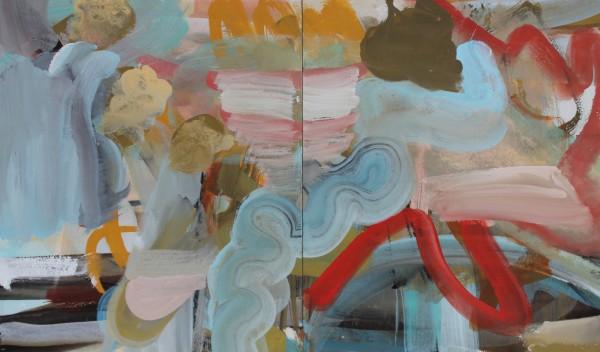 Julie D. Cooper Penwith Diptych gouache Artwork: 50 x 29cm