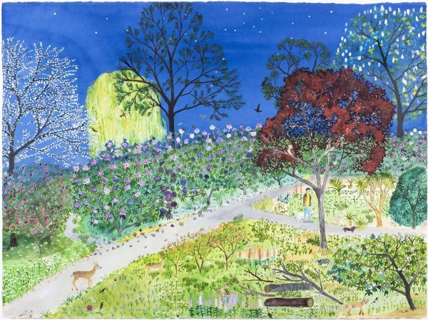 Emma Haworth Twilight Park watercolour Frame: 72 x 90 cm