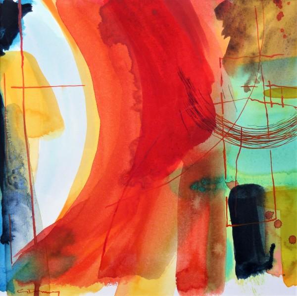 Claire Denny Garden Walk watercolour & ink Frame: 38 x 38 cm Artwork: 19 x 19 cm