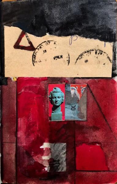 Stuart Robertson Portals Lisboa 2 watercolour collage Frame: 30 x 24 cm Artwork: 14 x 9 cm