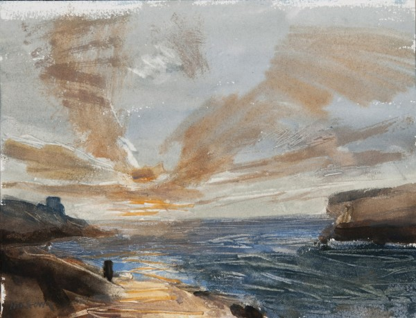 John Newberry Sunset, Xlendi, Gozo, Malta watercolour Frame: 40.5 x 30cm Artwork: 22.5 x 16cm