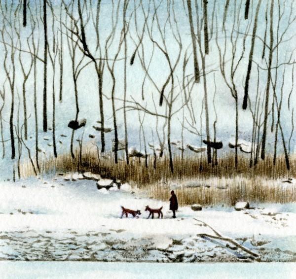 Liz Butler Walking in the Silence of the Snow watercolour Frame: 26 x 26 cm Artwork: 8.5 x 9 cm