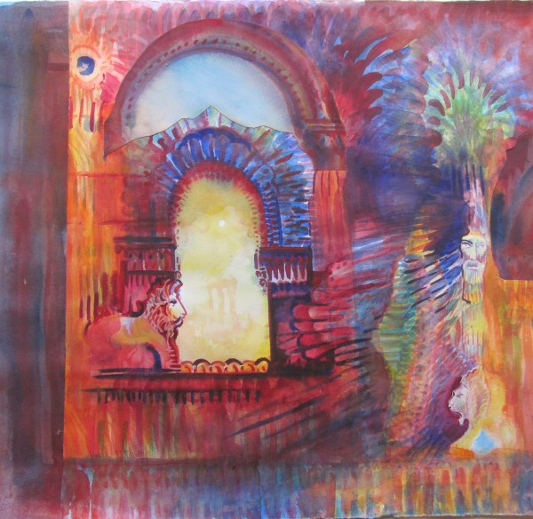 Neil Pittaway Jewels of Mesopotamia watercolour collage Artwork: 60 x 56cm