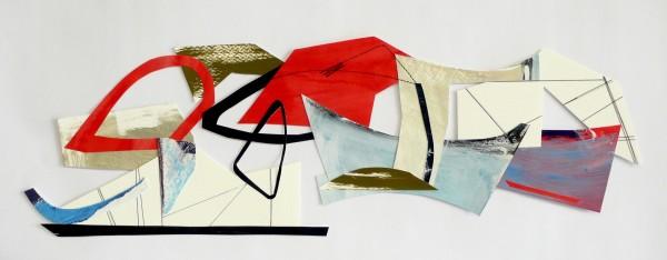 Lisa Traxler Cutting Space - Horizon watercolour, acrylic & collage 30x68cm