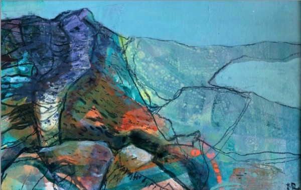 Mark Raggett Coastal Path mixed media on paper Frame: 31 x 40 cm Artwork: 15 x 24 cm