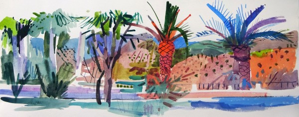 Jenny Wheatley Palms and Eucalyptus watercolour 50x90cm