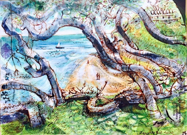 Mark Raggett Casuarina Point - Malindi mixed media Frame: 52 x 65 cm Artwork: 28 x 38 cm
