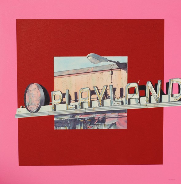 Denis Ryan Playland Neon, New York watercolour & acrylic Frame: 54 x 54 cm Artwork: 50 x 50 cm