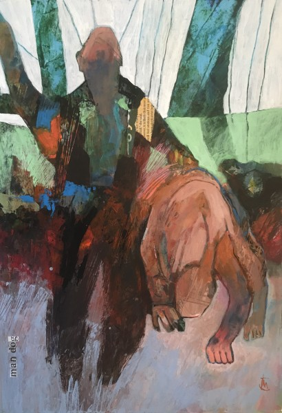 Colin Merrin Man Dog acrylic & collage Frame: 57 x 45 cm Artwork: 40 x 27 cm