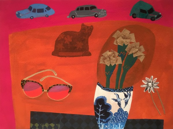Gertie Young Red Table with Parked Cars watercolour, gouache & collage 35x43cm