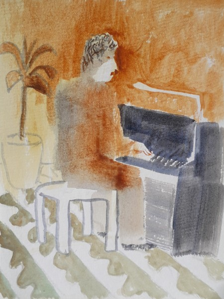 Richard Sorrell Piano watercolour Artwork: 25 x 20cm