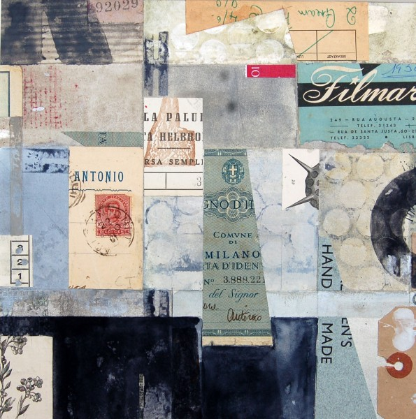 Stuart Robertson Mercantino Filatelico Milan watercolour, collage & ink Frame: 41 x 38 cm Artwork: 24 x 24 cm