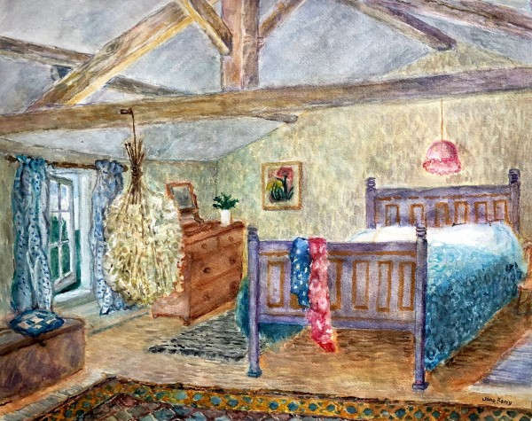 June Berry The Attic Bedroom gouache Frame: 47 x 58 cm Artwork: 45 x 56 cm