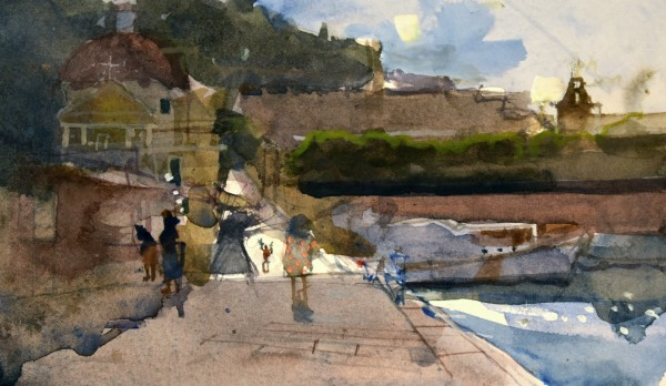 Richard Pikesley Santi Silverio e Domatilla, Isola di Ponza, Morning Light watercolour Frame: 28 x 35 cm Artwork: 10 x 18 cm