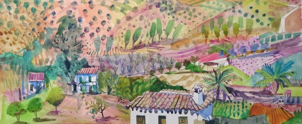 Jenny Wheatley Landscape Priego de Cordoba watercolour 51x90cm