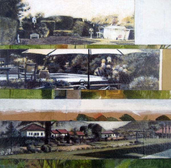 Mike Middleton Three Gardens watercolour & acrylic Frame: 40 x 38 cm Artwork: 18 x 18 cm