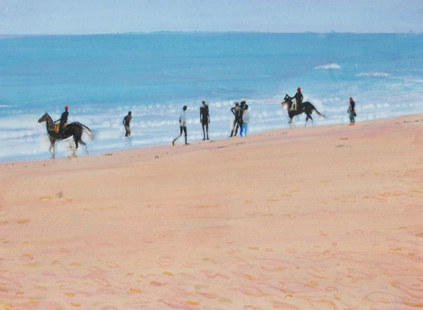 Simon Pierse Horses on Mamallapuram Beach watercolour Artwork: 52 x 72cm
