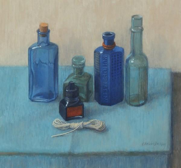 Claire Dalby Five Bottles with a Bundle of String watercolour & gouache Frame: 47.5 x 47.5 cm Artwork: 24.0 x 25.8 cm